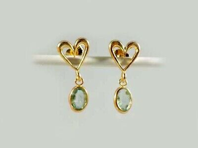 Gold Emerald Earrings 1ct Antique 19thC Siberian Ancient Sumer Immortality 14kt