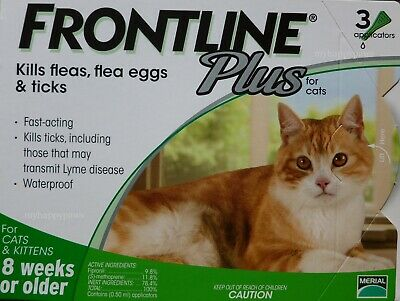 Frontline Plus CATS 3 Months Pack Supply ALL WEIGHTS NIB! GREEN