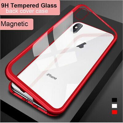 APPLE iPhone X XS MAX XR 7 8 Plus Magnetic Metal Frame Back Tempered Glass Case