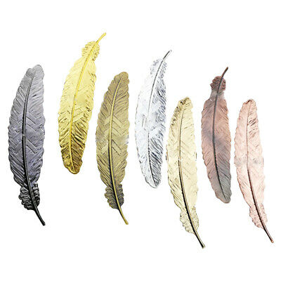 6pcs Different Color Vintage Feather Metal Bookmarks Book Marker for School S 9C