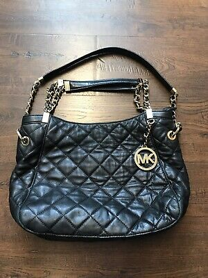b96a8066fc4b Michael Kors Women's Quilted Leather Shoulder Tote Black Size Medium  Susannah