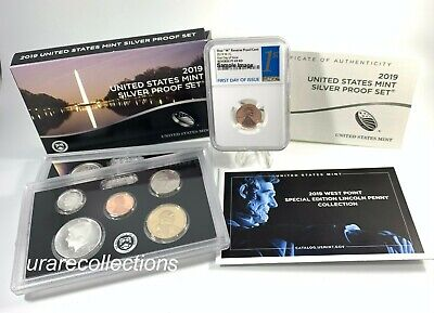 "2019 SILVER PROOF SET w/""W"" REVERSE LINCOLN CENT NGC PF69 RD *First Day of Issue"