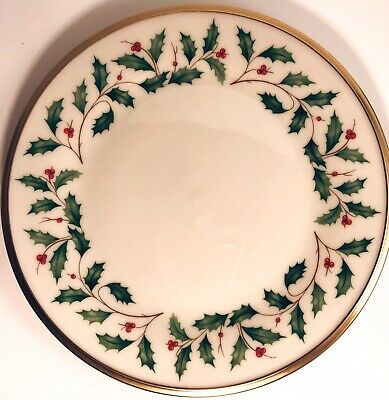 "Lenox Holiday Christmas Salad Plate Holly Berries 8"" Gold Trim Dimension Festive"