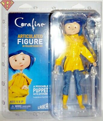 """CORALINE (Yellow Raincoat & Boots) 7"""" Poseable Articulated Doll Figure Neca 2019"""