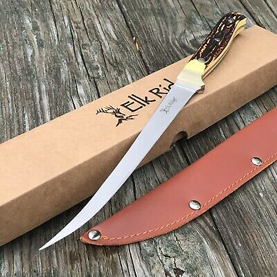 Elk Ridge Bone Handle Full Tang Fish Fishing Filet Fillet Camping Hunting Knife