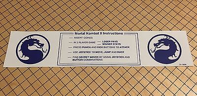 Mortal Kombat 2 Arcade Instruction Card Midway Monitor Marquee Bezel Sign