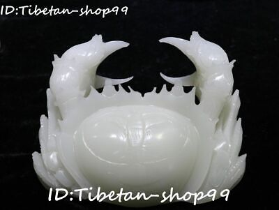 Unique Chinese Natural White Jade Hand Carved Crab Crabs Pliers Animal Statue