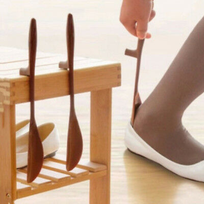 Smooth shoe horn wooden spoon shoe lifter shoehorn disability aid stick Au