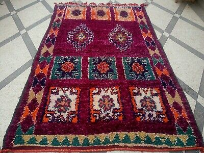 Vintage Carpet Multicolored, Wool 100%,Hand Made,Boujaad,Berber Traditional Rare