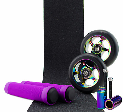 Metal Core 100mm Oil Slick Scooter Wheels and Pegs + Purple Grips + Tape