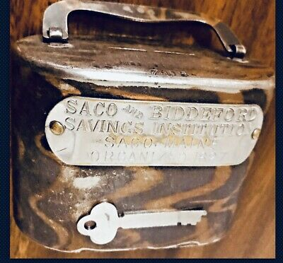 Antique Coin Bank Saco & Biddeford Savings Institution Saco Maine W/ KEY Rare