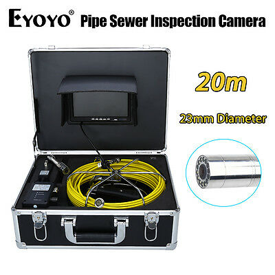 "Eyoyo 20M 7"" HD LCD 23mm Pipe Pipeline Drain Inspection Sewer Video Camera Color"