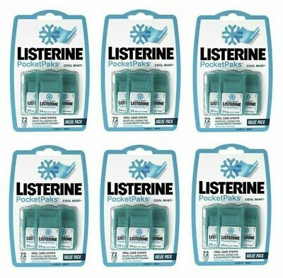 6 x Listerine PocketPaks 72 Strips Pocket Packs Oral Care Fresh Breath Mint