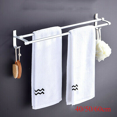 Double Shelf Wall Mounted Bathroom Towel Rail Rack Holder Hook Stainless Steel