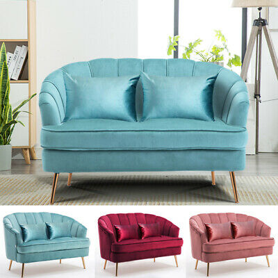 Velvet Scalloped Love Seat Sofa Couch Settee Tub Sofas Chesterfield Petal Chair