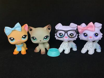 Hasbro Littlest Pet Shop LPS Collie White Short Hair Cat 363 391 Authentic 4PCS