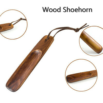 1Pc wooden shoe horn portable craft shoes accessories solid wood shoehorn Au
