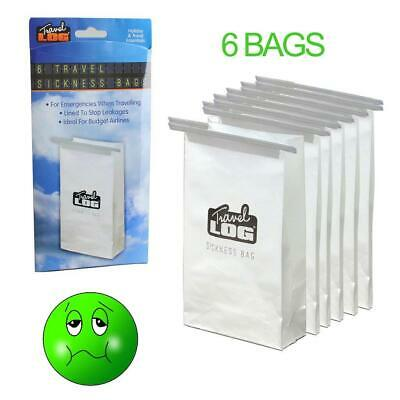 6 Travel Sickness Bag Lined Sea Travelling Motion Vomit Disposable Car Plane 4D