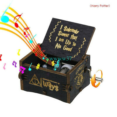 Black Harry Potter Engraved Wooden Hand-cranked Music Box Toys Gift