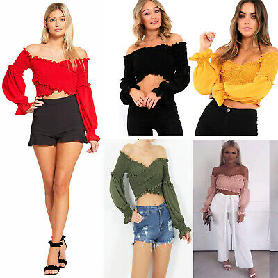 cacc049814d NewWomens Ladies Ruffle Frill Shirred Wrap CrossOver Body Bardot Smoked Crop  Top