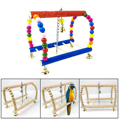 Wooden Chewing Swing Birds Pet Toy Nest Bed Rope Cage Cockatiel Parrot Budgie UK
