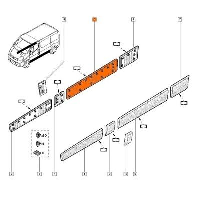 Right Side Long Trim Moulding Strip Panel for Renault Trafic II 2001-2013