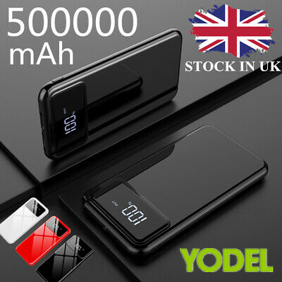 Portable External Spare Travel Battery Charger 500000mAh Power Bank 2USB LED&LCD