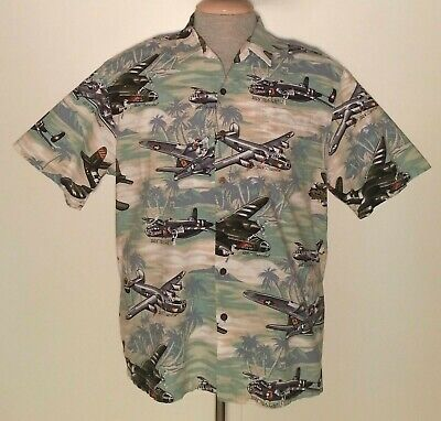 88f144b6 KALAHEO WORLD WAR II B-17 Bomber Airplane Print Hawaiian Shirt Men's ...