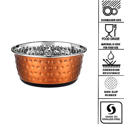 Copper Effect Stainless Steel Dog Pet Feeding Water Bowl Non Slip Rubber 3 Sizes