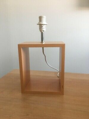 Pair (2) Wooden Cube table lamp base only