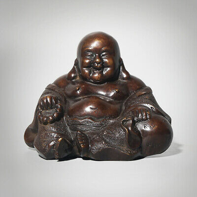 Exquisite Chinese Sitting Fat Laughing Buddha Statue Hand-carved Marks QianLong
