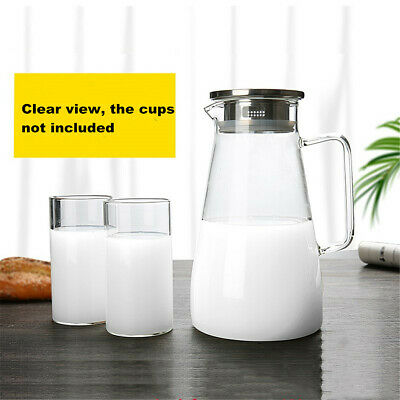1.5L Clear Glass Pitcher Jug Water Drinking Tea Pot Carafe Stainless Steel AU