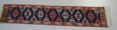 "Vintage Dollhouse Miniatures Accessory 10 1/2"" Yomut Woven Fringed Rug, Runner"