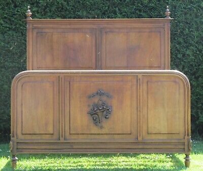 French Carved Walnut Standard Double 4 feet 6 Inch wide Slat Platform Base