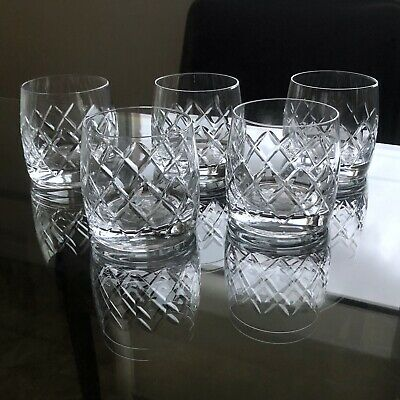 5X Vintage BOHEMIA Crystal DIAMOND Pattern SCOTCH Rocks WHISKEY Spirits GLASSES