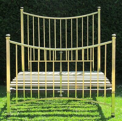 Victorian Brass with iron Standard Double Bed by Thomas Perry with Slat Base