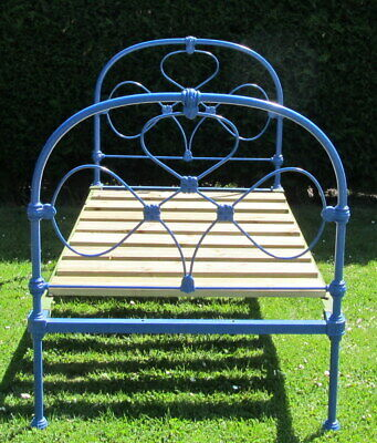 Pretty Victorian Painted iron Single ( 3 feet wide ) Bed with Pine Base