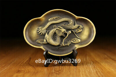 Asian Chinese Brass Brush Washers Hand-carved Dragon Yantai w Qing Dynasty Mark