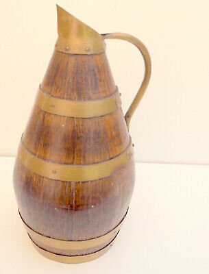 """RARE Old French antique brass and wooden oak Wine/cider Jug pitcher 12"""""""