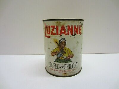 Vtg Old Antique Luzianne Coffee Chicory  Advertising Tin Can Black Americana
