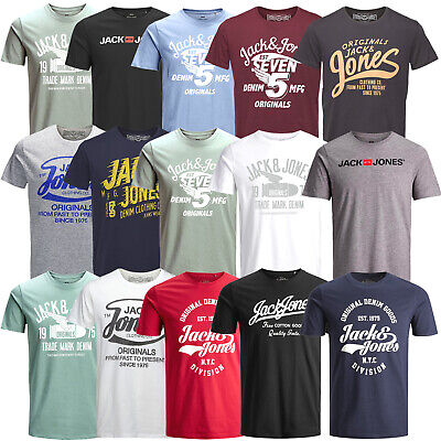 Jack & Jones Herren T-Shirt Regular und Slim Fit Rundhals Print kurz UVP 14,99 €