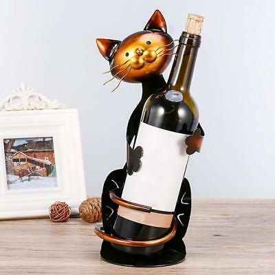 Cute Cat Animal Shape Red Wine Holder Rack Wrought Iron Craft Gift Home Decor