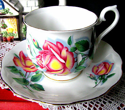 Royal Albert Anne Teacup & Saucer Hampton Large Pink Sweetheart Rose Tea Cup Set