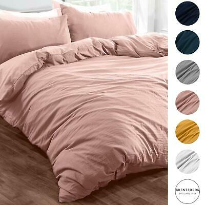 Brentfords Washed Linen Duvet Cover with Pillowcase Bedding Set Grey Ochre Blush