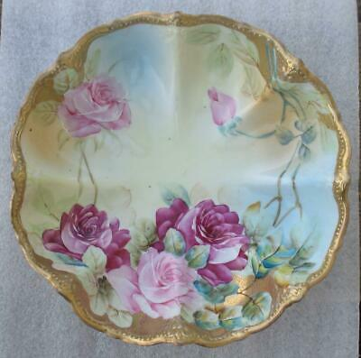 """NIPPON JAPANESE fine CHINA SHELL SHAPED """"ROSE"""" FLORAL DEEP BOWL"""