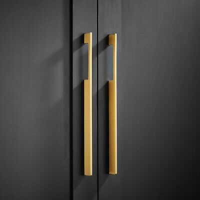 Premium Solid Brass Long thin Gold Door Pull Handles for kitchen and wardrobes