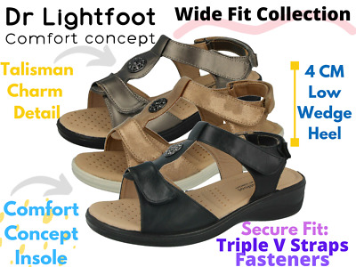 Ladies Faux Leather Open Toe Lightweight Wide Fit Comfort Summer Sandals