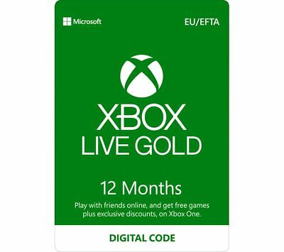 MICROSOFT Xbox Live Gold Membership 12 Month Subscription - Currys