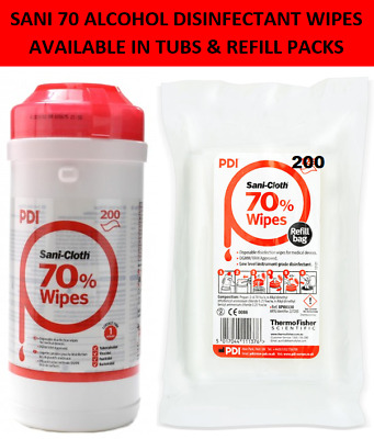 SANI 70 ALCOHOL DISINFECTANT ISOPROYL WIPES- TUBS & REFILLS IN 200's + FREE POST
