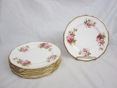 Lot of 8 Royal Albert American Beauty  Dinner Plates 10 and 1/4 inches